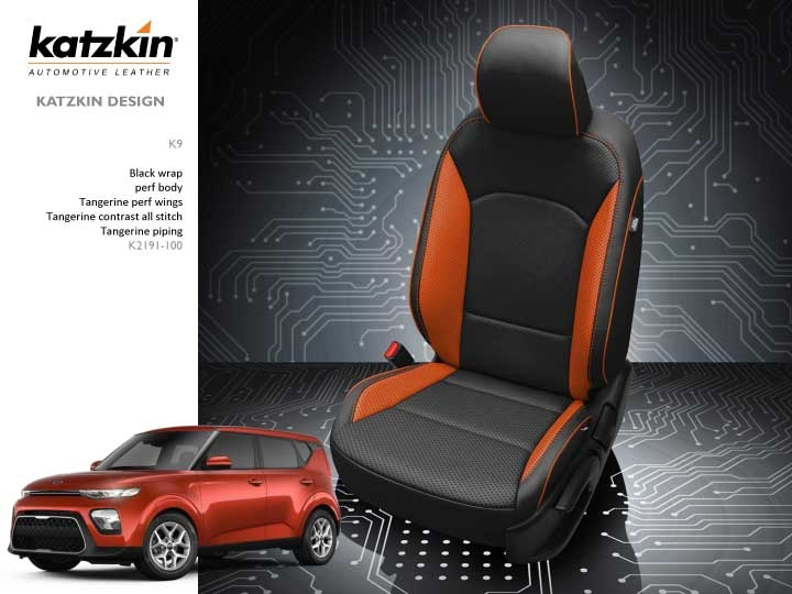 Kia Soul Katzkin Leather Seat Upholstery (without rear center arm rest,  with integrated headrests), 2020   ShopSAR com