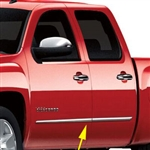 GMC Sierra Crew Cab Chrome Lower Door Molding Accents, 2007, 2008, 2009, 2010, 2011, 2012, 2013