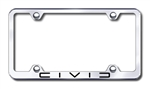 Honda Civic Laser Etched Chrome License Plate Frame