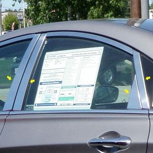 Hyundai Sonata Chrome Pillar Post Trim 4pc Set 2011