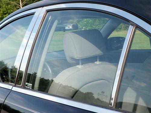Stainless Steel Pillar Post Chrome Door Trim 4PC For BMW 5-Series 2004-2010