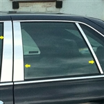 Cadillac Seville Chrome Pillar Post Trim, 1998, 1999, 2000, 2001, 2002, 2003, 2004