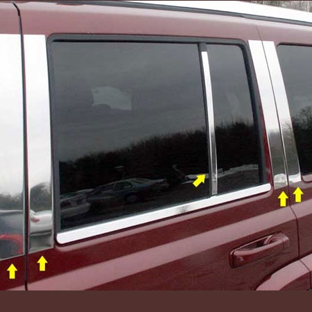 8PC Stainless Steel Pillar Post Trim PP47082 For JEEP GRAND CHEROKEE 2005-2010