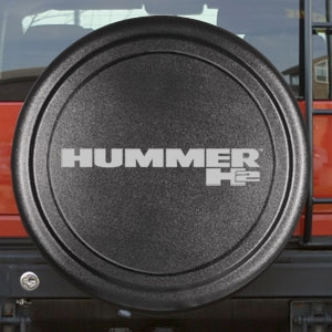 Hummer H2 Black Textured Rigid Spare Tire Cover, 2002, 2003, 2004