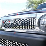 Toyota FJ Cruiser Chrome Front Grille Accent Trim, 2007, 2008, 2009, 2010, 2011, 2012, 2013, 2014