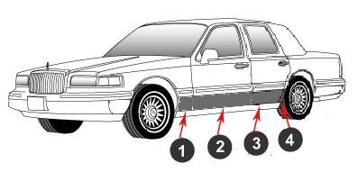 Lincoln Town Car Chrome Rocker Panel Set 8 Pc 1990 1994