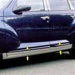 Chrysler PT Cruiser Chrome Rocker Panels, 2001, 2002, 2003, 2004, 2005, 2006, 2007, 2008, 2009, 2010