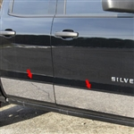 Chevrolet Silverado Double Cab Chrome Rocker Panel Trim, 2014, 2015, 2016, 2017, 2018