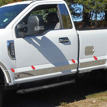 Ford Super Duty Regular Cab Chrome Rocker Panel Trim Set, 2017, 2018, 2019, 2020