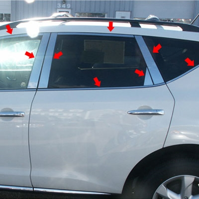 Nissan Murano Chrome Window Trim Package 22pc Set 2009