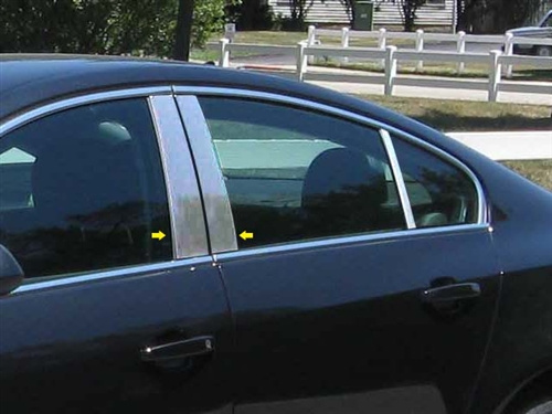 Fits Buick Regal 2011-up Chrome Mirror B-Pillar Door Pillar Covers Post Accessor