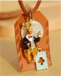 Alice in Wonderland Necklace Leather & Enamel Charms Darling Bunny Clock Playing Card