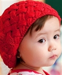 Sweetest Knit Baby Child Hat Beret Fur Pom Pom Bright Red