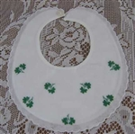 Babys First BIB Embroidered Irish Green Shamrocks Cute!