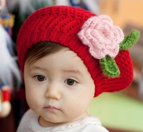Baby Toddler RED Knitted Beret Crochet Pink Rose 8b1a2d84ebe