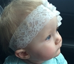 Baby Toddler Precious Lace Headband HUGE Flower Pink or White