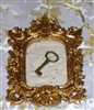 Glittery Gold Baroque Frame Christmas Ornament Vintage Lace Key