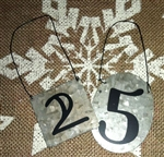2 Small Tin Signs Ornaments Number 25 For Christmas Decor Lots of Fun Uses