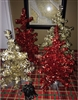 Retro Tinsel Christmas Trees 2 Sizes Champagne Gold & Red