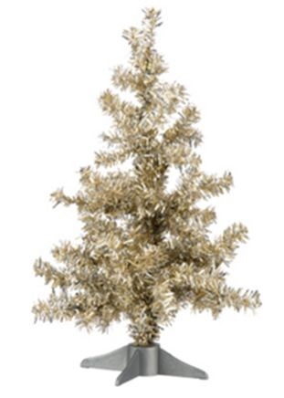 Retro Tinsel Christmas Trees 2 Sizes Champagne Gold Red
