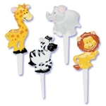 LIONS ZEBRAS GIRAFFES OH MY Jungle or Zoo Cupcake Picks S/12