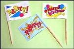24 PARTY! Cupcake Flags Cupcake Toppers Colorful Paper Picks
