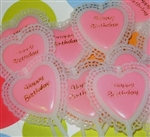 Lacey Pink HAPPY BIRTHDAY Hearts Cupcake Picks Toppers For Your Princess