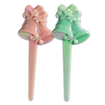 Pearlized Wedding Bells Cupcake Picks Toppers Pink & Green