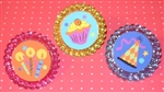 Sparkly Glittery Happy Birthday Cupcake Rings Toppers CUTE!