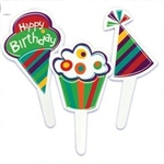 Colorful Polka Dots & Stripes Birthday Party Cupcake Picks Fun!