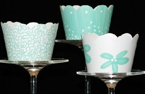 Tiffany Blue Themed Cupcake Wrappers Wedding Bridal Shower Chic
