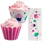 Darling Birthday Cupcakes & Pink Stripe Reversible Cupcake Wrappers s/24