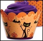 REVERSIBLE 24 Halloween Cupcake Wrappers Cat Jack O Lantern