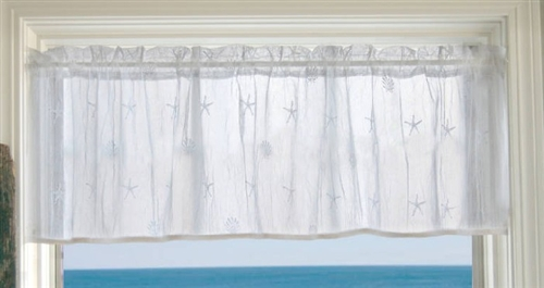 Beach Cottage Coastal Decor Lace Curtain Valance NO TRIM