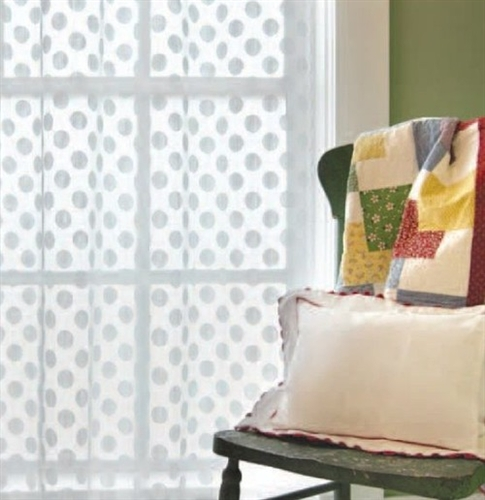 FUN Lace White Or Cafe Polka Dot Curtain Panel 63 Long