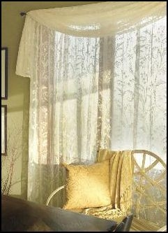 Stunning Ivory Lace Curtain Window SCARF Scrolls Lily Valley 45 X 126
