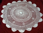 "All White 24"" LG Round Hand Crocheted Doily Doilies ~ Cottage ~"