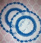 8 Inch Horizon Blue and White Hand Crocheted Doily Cottage