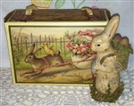 Easter Candy Box Reproduction Happy Easter Bunny Chicks Flowers