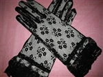 Elegant BLACK Lace Ladies Gloves Tea party Wedding