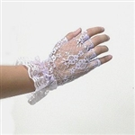 Fingerless All White Lace Gloves For Brides Bridesmaids Proms