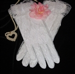 Brides White Lace Wedding Gloves for Proms Special Ocassions Too!