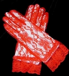 Flirty RED Lace Ladies Gloves Victorian Tea Party Prom Wedding - Photo Prop