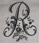French Look Monogrammed Black R Guest Towel Flax Linen