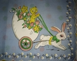 Childs Easter Handkerchief Hankie Kitty Riding Bunny Cart Blue