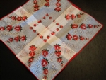 Charming Red Roses and Daisies Vintage Ladies Handkerchief New Old Stock
