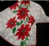 Striking Spray of Red Poinsettia Flowers Christmas Vintage Hankie Hand Printed