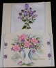 Vintage EASTER Card Embossed PINK Roses w/ Purple Rose Handkerchief Hanky