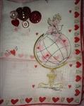 Cupid Ontop of the Globe Darling Vintage Valentine Hankie Gold Accents