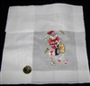 HO HO SANTA Embroidered Bag of Toys Cute Christmas Handkerchief Hankie